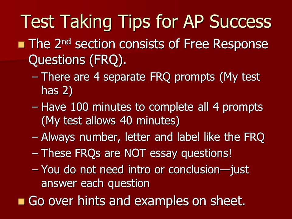 Test Taking Tips for AP Success