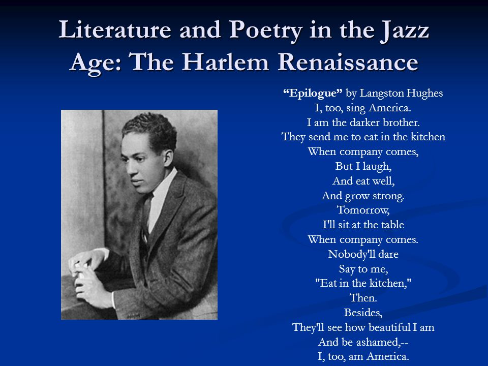 Literature and Poetry in the Jazz Age: The Harlem Renaissance