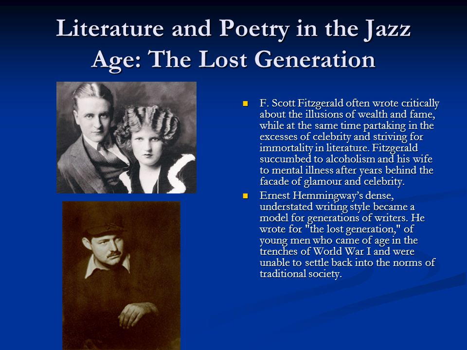 Literature and Poetry in the Jazz Age: The Lost Generation