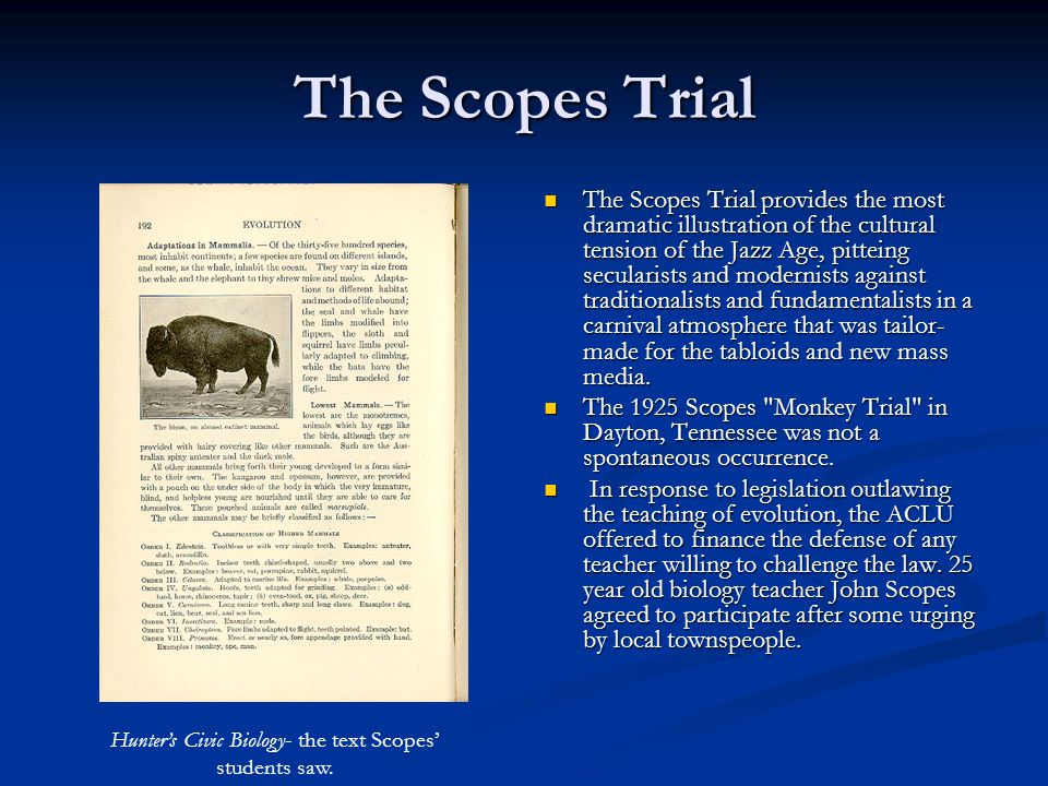 Hunter's Civic Biology- the text Scopes' students saw.