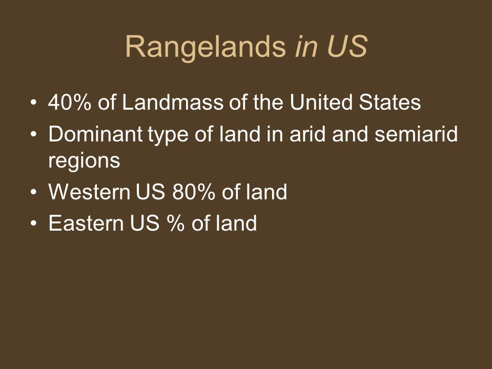 Rangelands in US 40% of Landmass of the United States
