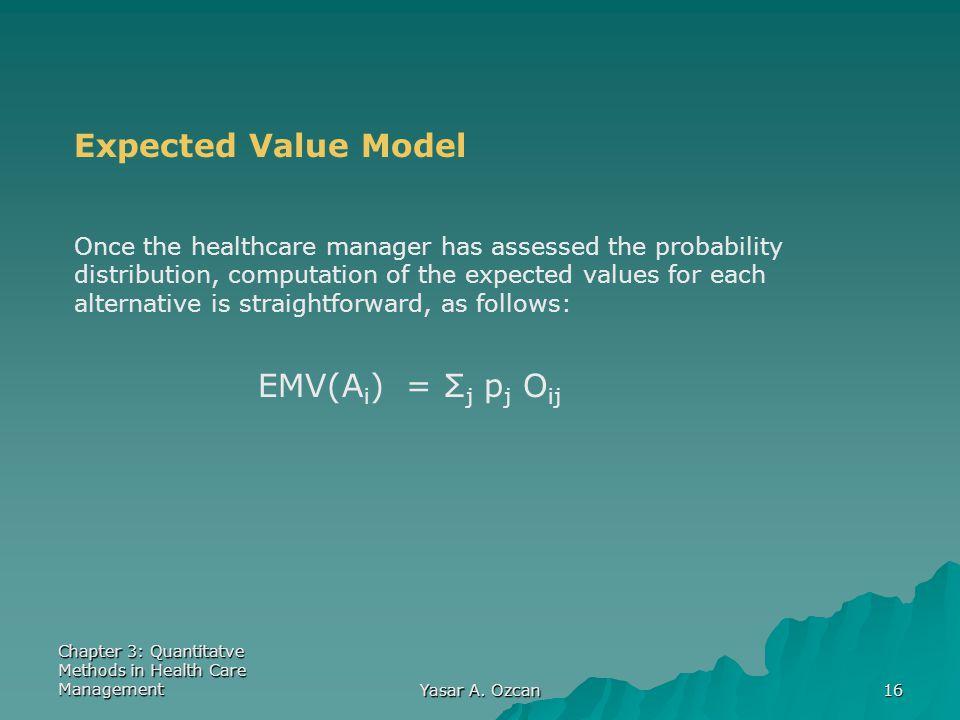 Expected Value Model EMV(Ai) = Σj pj Oij