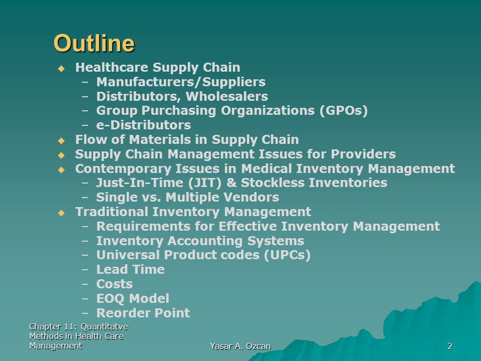 Outline Healthcare Supply Chain Manufacturers/Suppliers