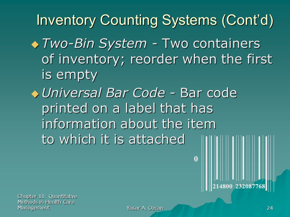 Inventory Counting Systems (Cont'd)