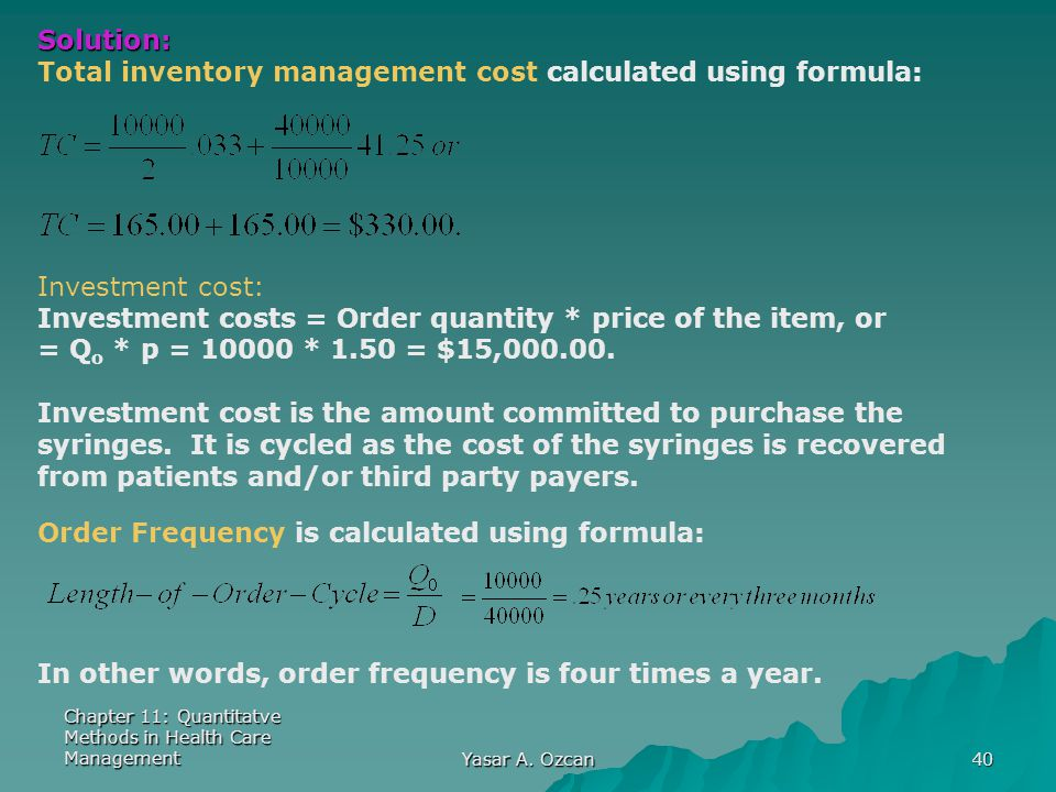 Total inventory management cost calculated using formula: