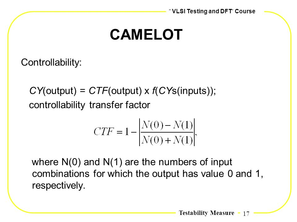 CAMELOT Controllability: CY(output) = CTF(output) x f(CYs(inputs));