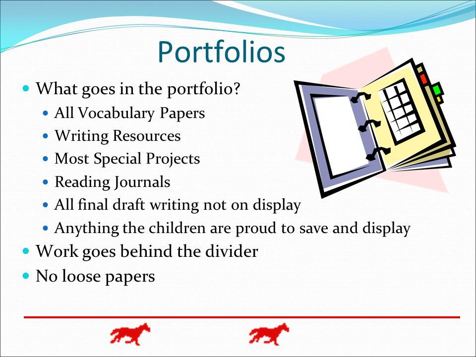Portfolios What goes in the portfolio Work goes behind the divider
