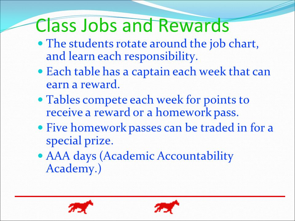 Class Jobs and Rewards The students rotate around the job chart, and learn each responsibility.