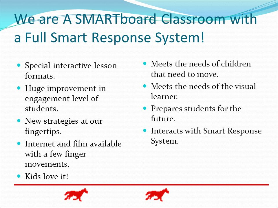 We are A SMARTboard Classroom with a Full Smart Response System!