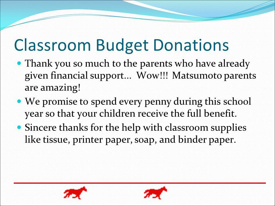 Classroom Budget Donations