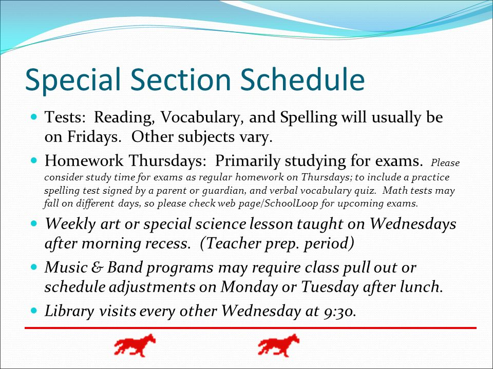 Special Section Schedule