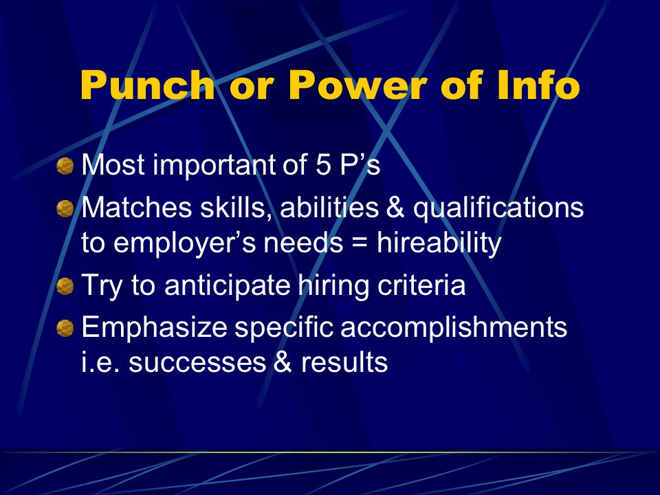 Punch or Power of Info Most important of 5 P's