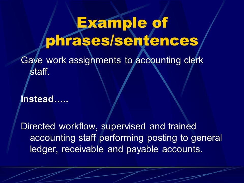 Example of phrases/sentences