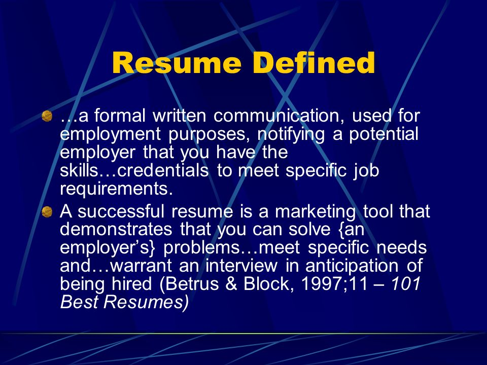 Resume Defined