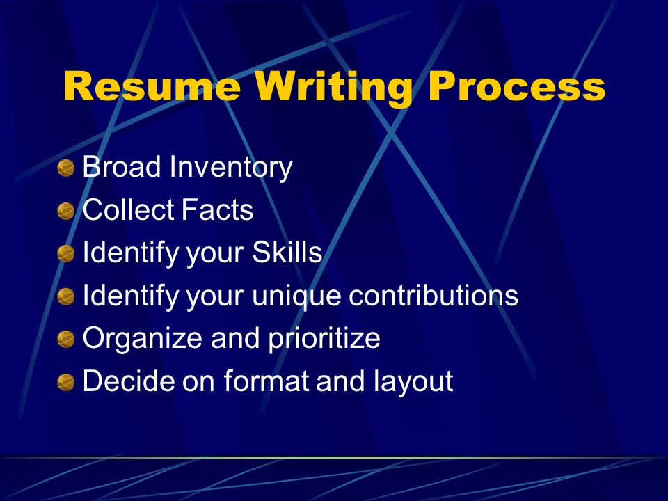 Resume Writing Process