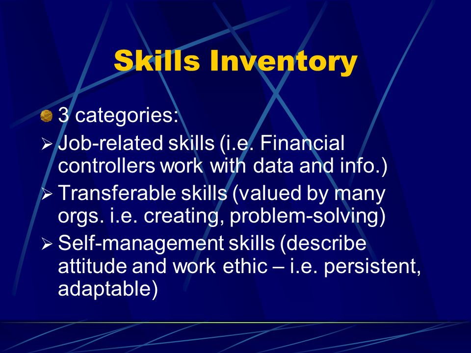 Skills Inventory 3 categories: