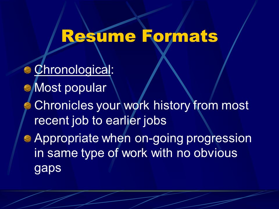 Resume Formats Chronological: Most popular