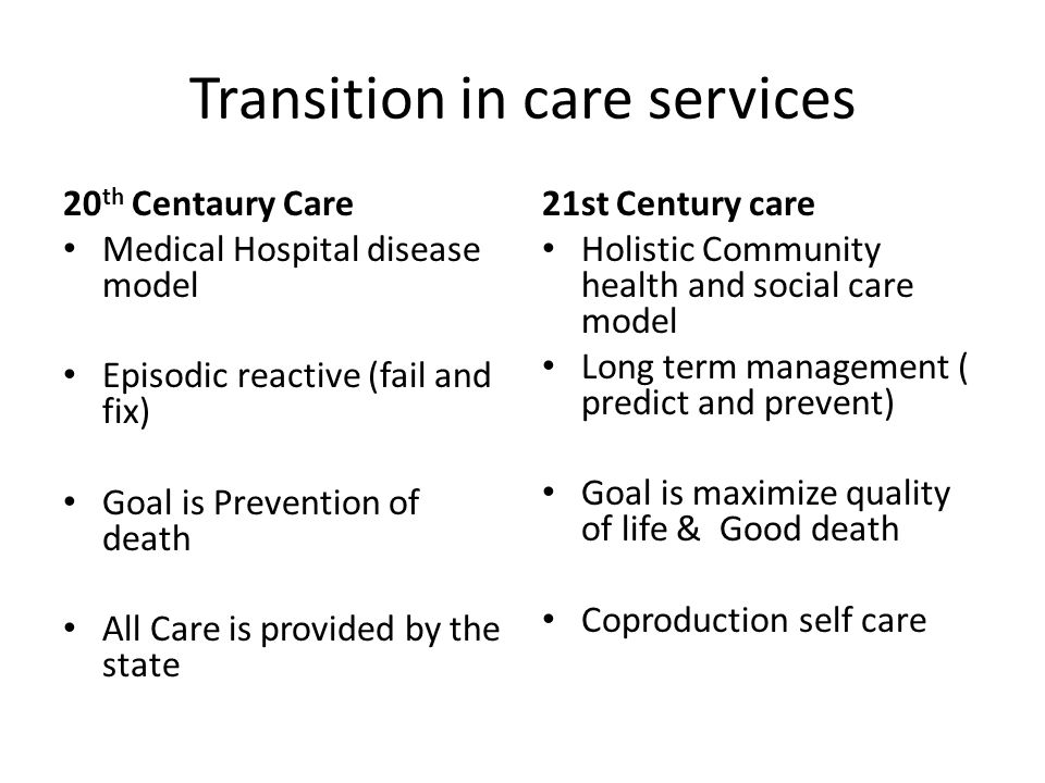 Transition in care services