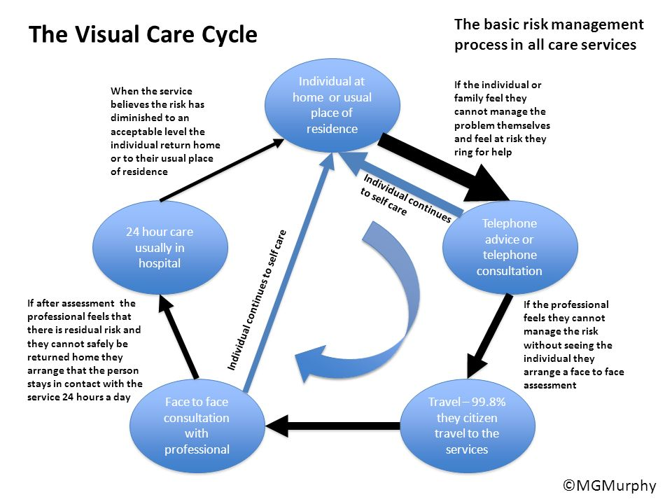 The Visual Care Cycle The basic risk management process in all care services. Individual at home or usual place of residence.