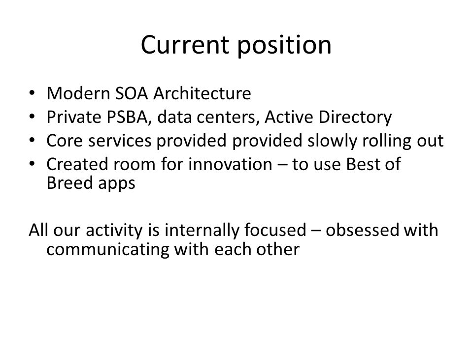 Current position Modern SOA Architecture