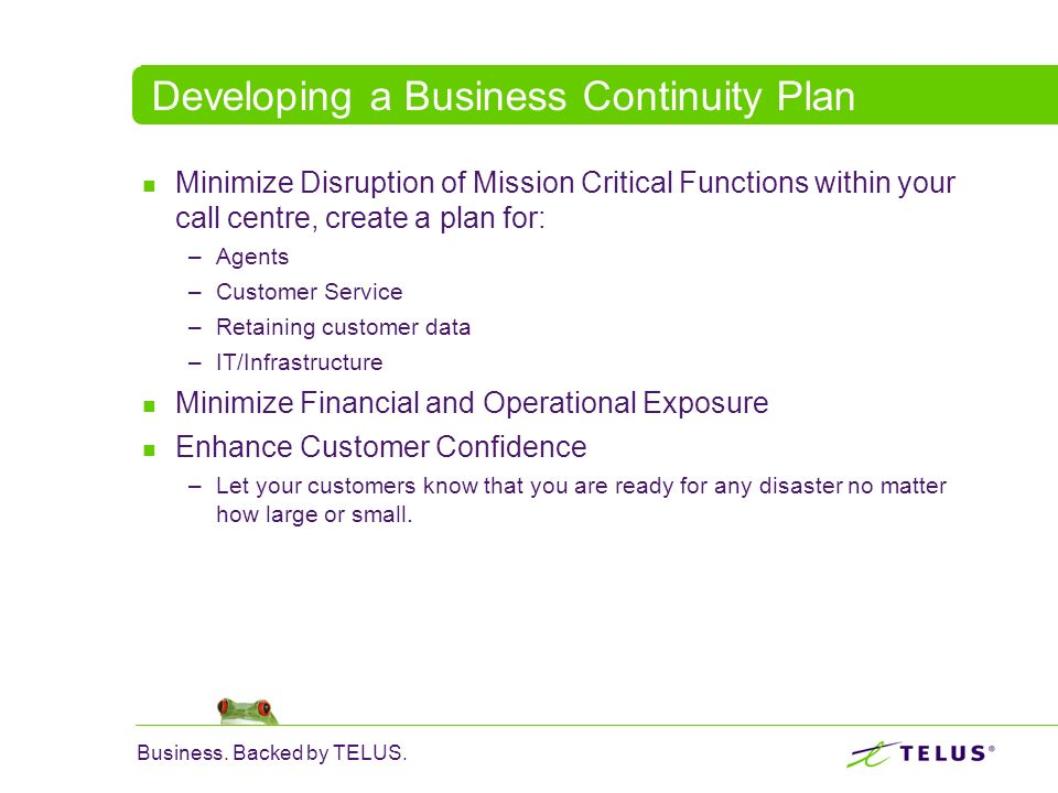 Developing a Business Continuity Plan