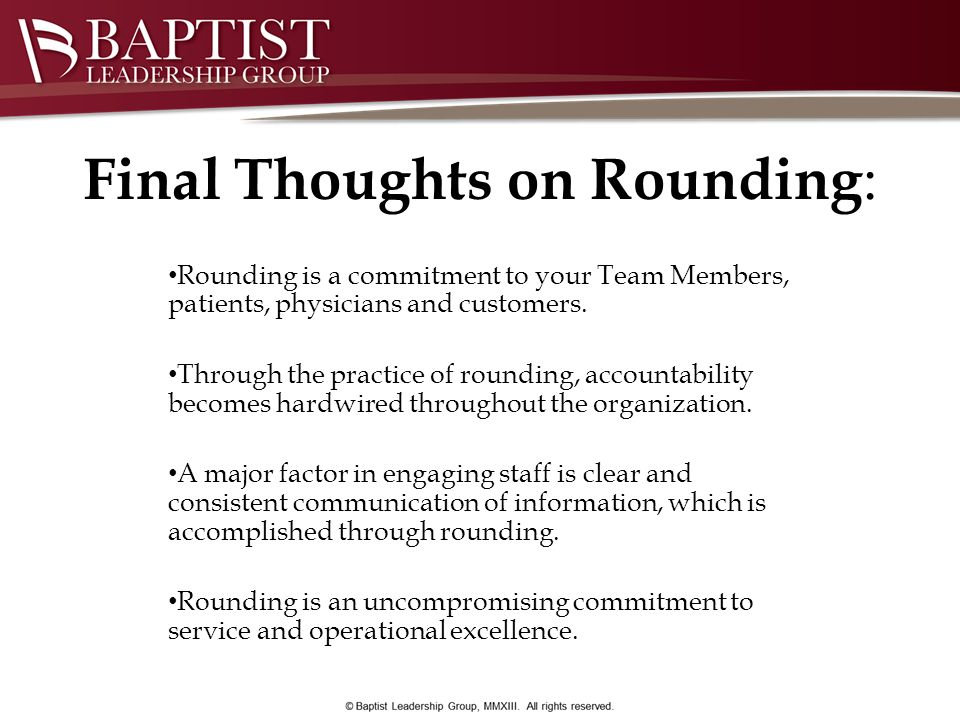 Final Thoughts on Rounding: