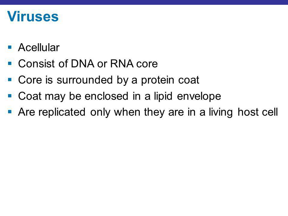 Viruses Acellular Consist of DNA or RNA core