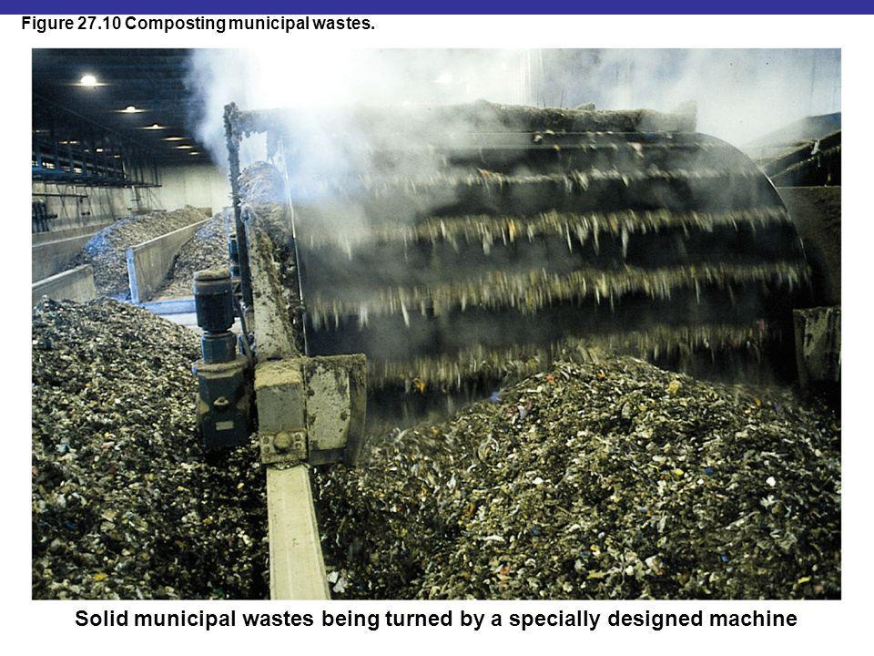 Solid municipal wastes being turned by a specially designed machine