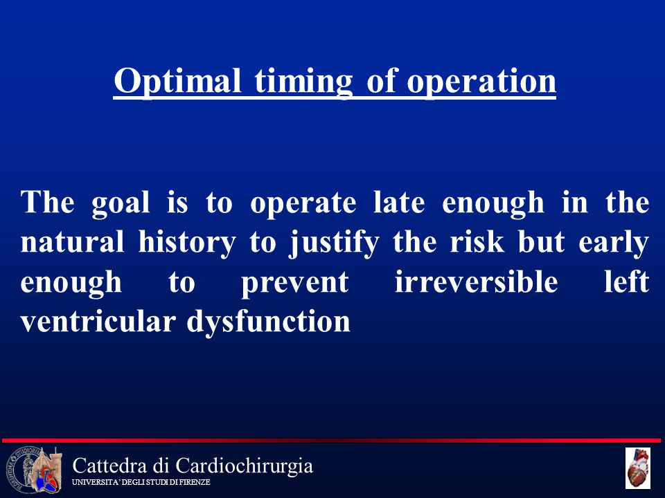 Optimal timing of operation