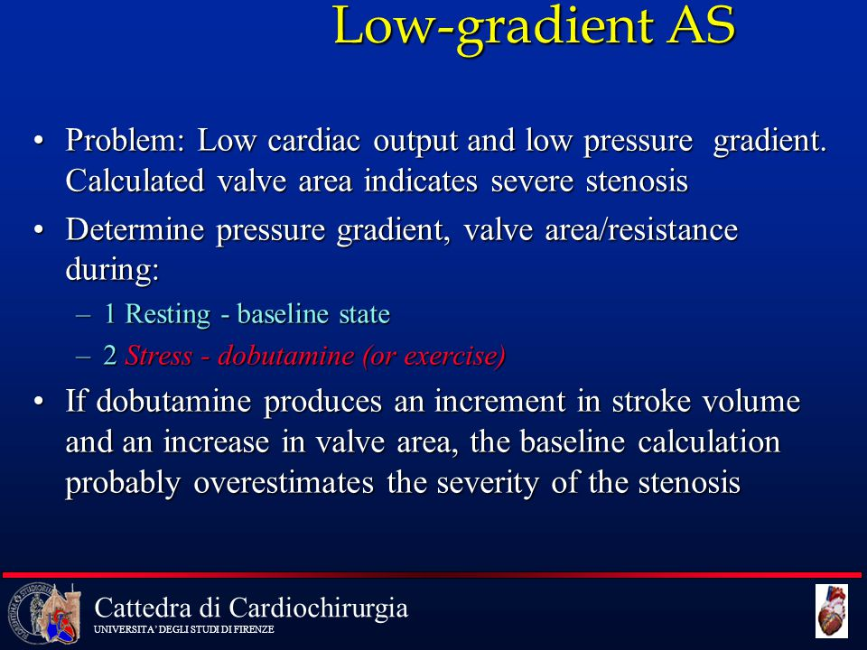 Low-gradient AS Problem: Low cardiac output and low pressure gradient. Calculated valve area indicates severe stenosis.