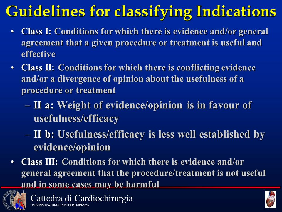 Guidelines for classifying Indications