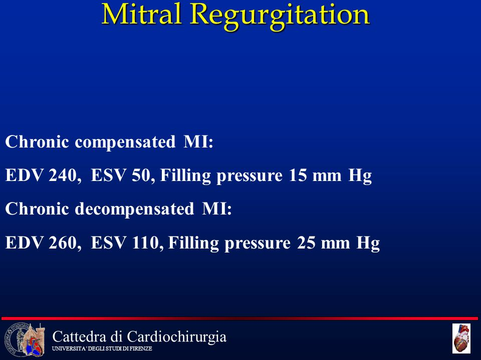 Mitral Regurgitation Chronic compensated MI: