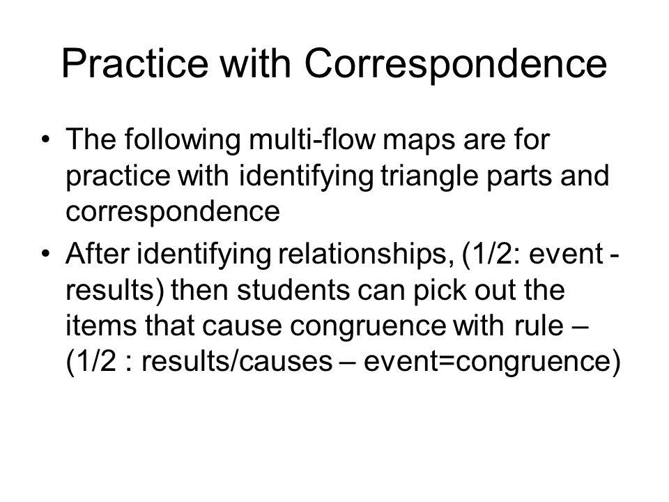 Practice with Correspondence
