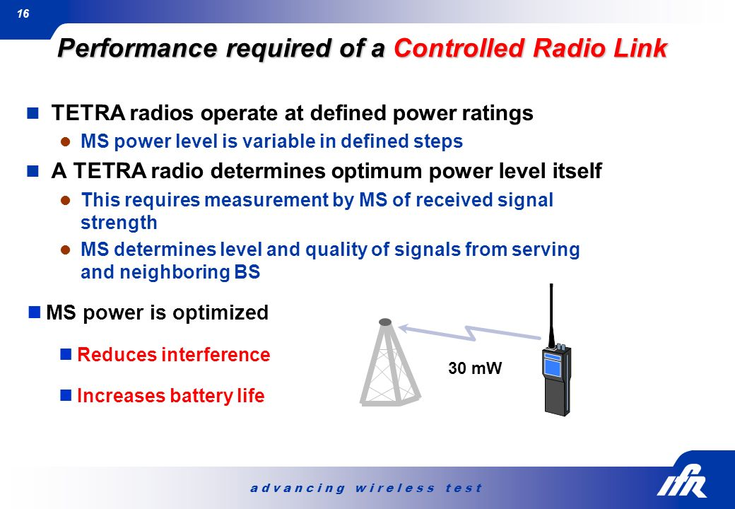Performance required of a Controlled Radio Link