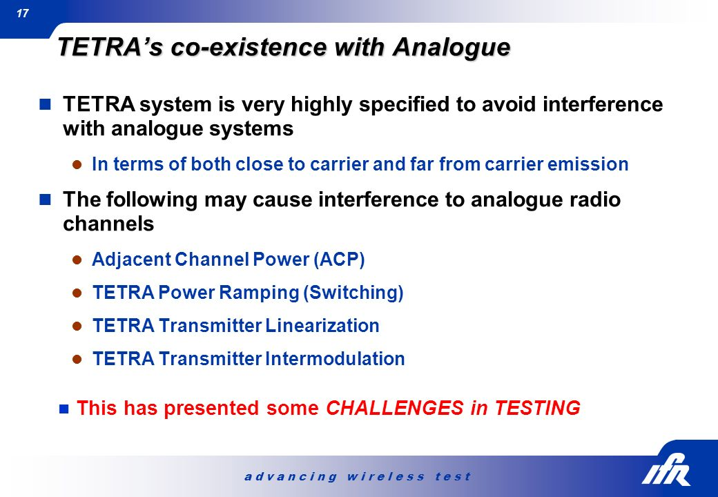 TETRA's co-existence with Analogue