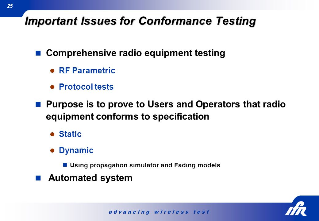 Important Issues for Conformance Testing
