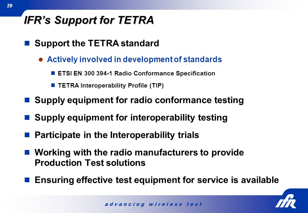IFR's Support for TETRA