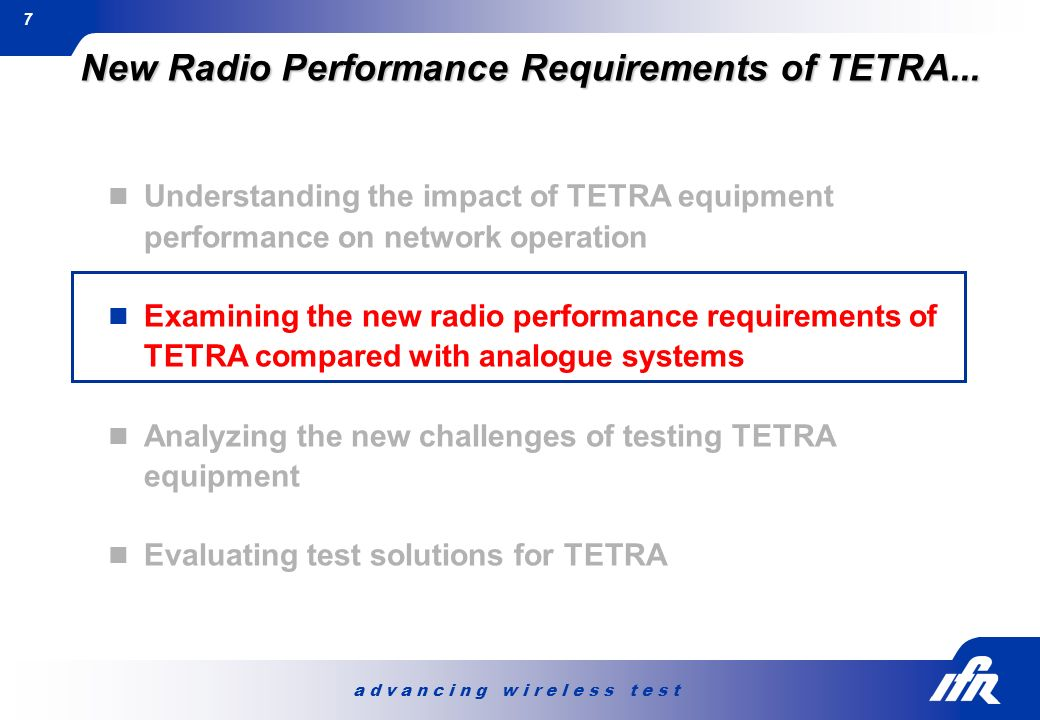 New Radio Performance Requirements of TETRA...