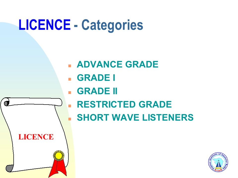 LICENCE - Categories ADVANCE GRADE GRADE I GRADE II RESTRICTED GRADE
