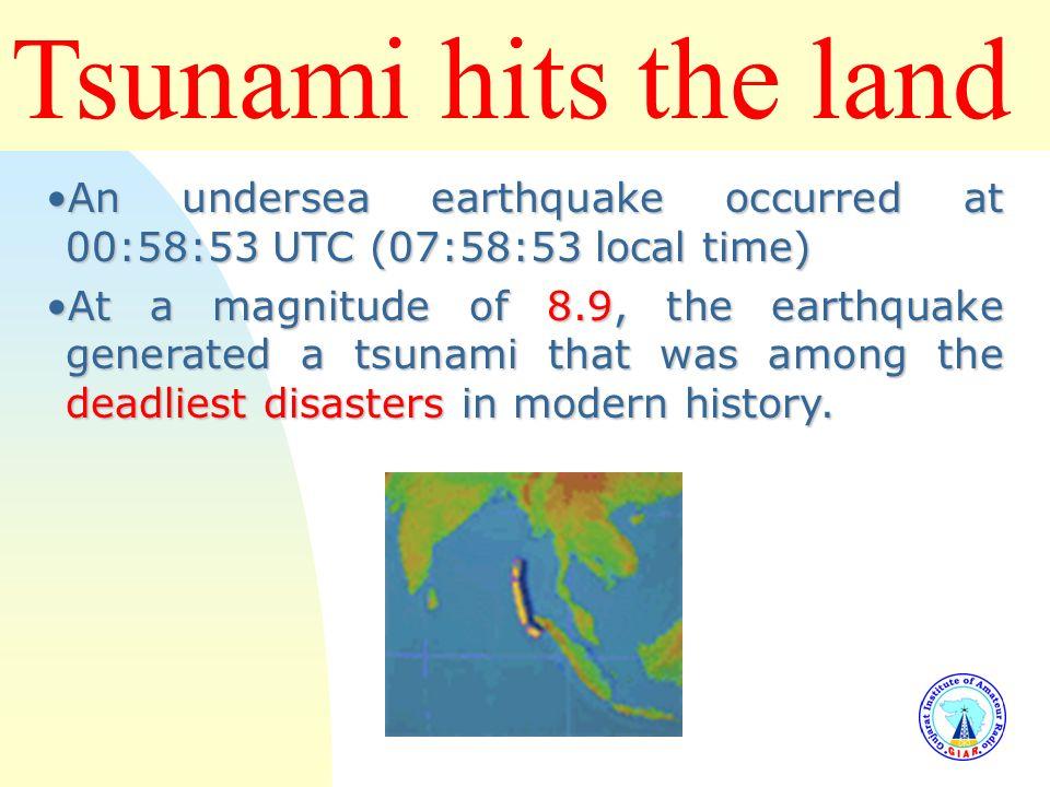 Tsunami hits the land 3/25/2017. An undersea earthquake occurred at 00:58:53 UTC (07:58:53 local time)