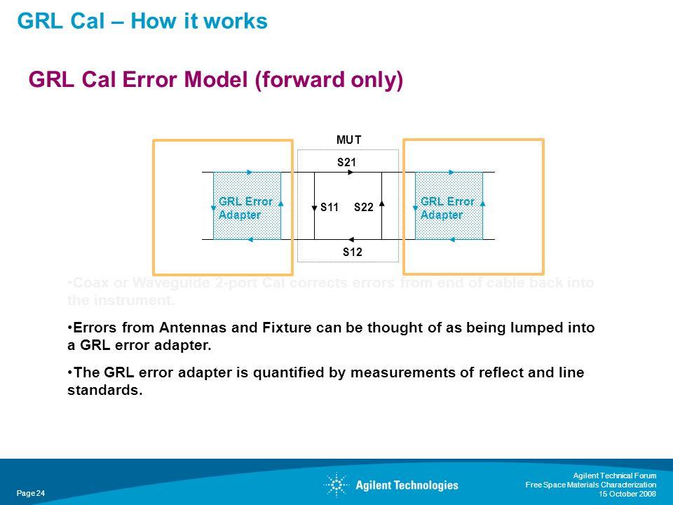 GRL Cal Error Model (forward only)