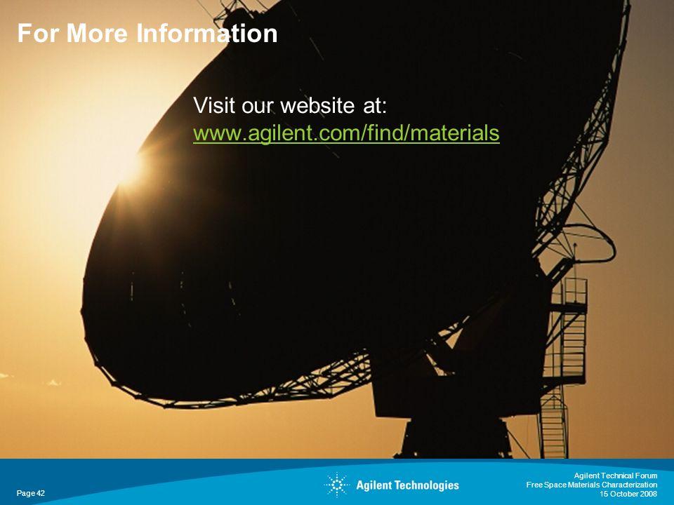 For More Information Visit our website at: www.agilent.com/find/materials.