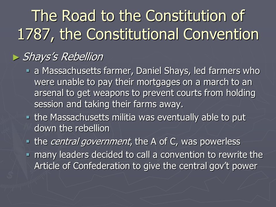 The Road to the Constitution of 1787, the Constitutional Convention