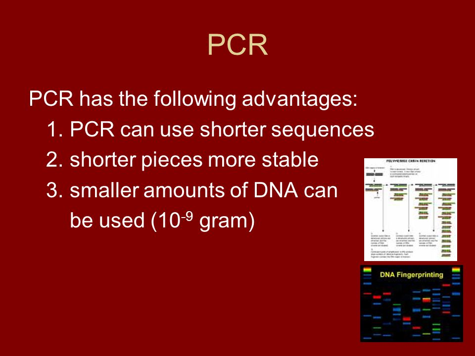 PCR PCR has the following advantages: 1. PCR can use shorter sequences