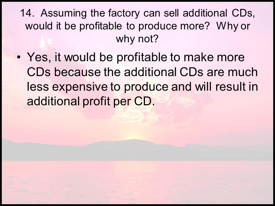 14. Assuming the factory can sell additional CDs, would it be profitable to produce more Why or why not