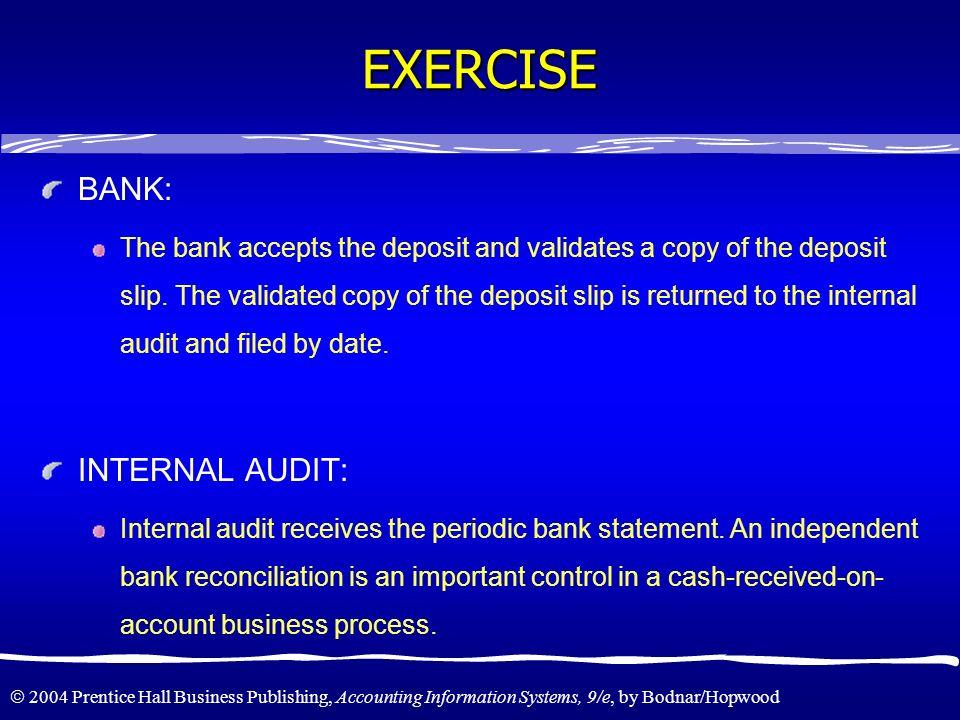 EXERCISE BANK: INTERNAL AUDIT: