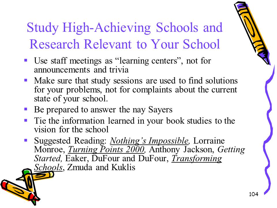 Study High-Achieving Schools and Research Relevant to Your School