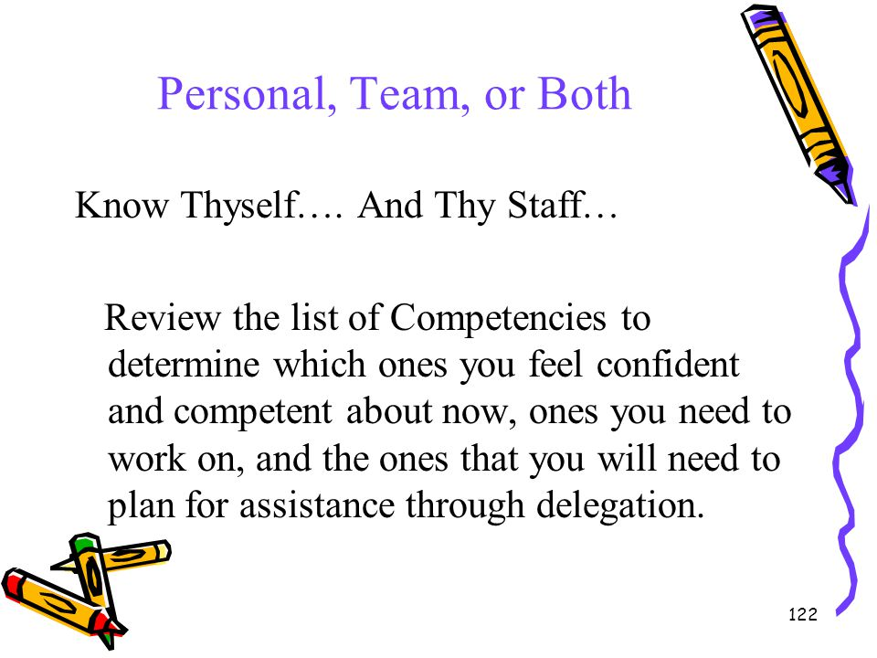 Personal, Team, or Both Know Thyself…. And Thy Staff…