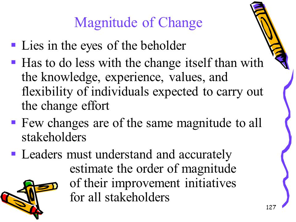 Magnitude of Change Lies in the eyes of the beholder