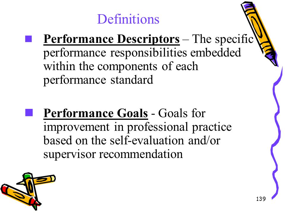Definitions Performance Descriptors – The specific performance responsibilities embedded within the components of each performance standard.